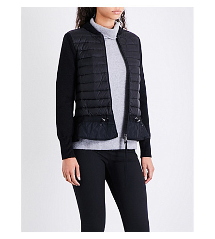 MONCLER Quilted shell and virgin wool cardigan (Black