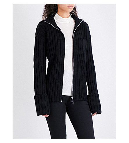 MONCLER Oversized wool and cashmere-blend cardigan (Black