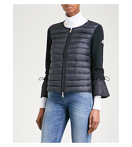 MONCLER Knitted-back quilted shell jacket (Navy