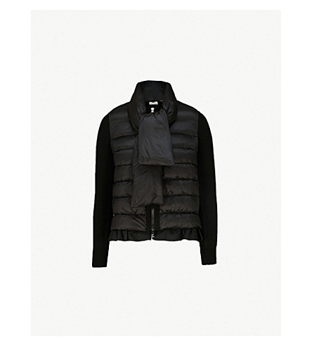 MONCLER Scarf-tie shell-down jacket (Black