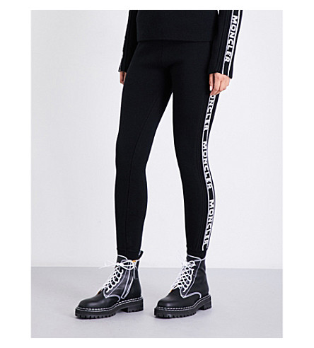 MONCLER Logo-intarsia skinny wool jogging bottoms (Black+white