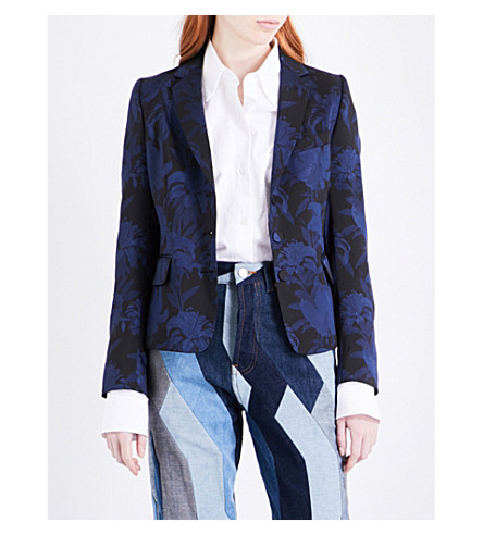 DRIES VAN NOTEN Babila floral-jacquard blazer (Navy