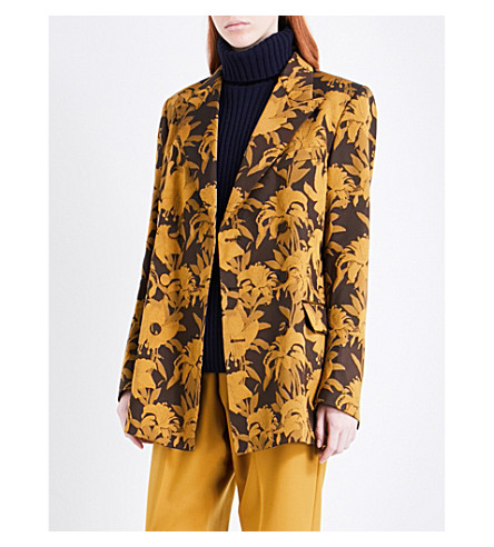 DRIES VAN NOTEN Badeni floral-jacquard blazer (Yellow