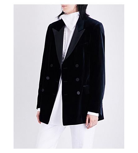 DRIES VAN NOTEN Badeni double-breasted velvet tuxedo blazer (Navy