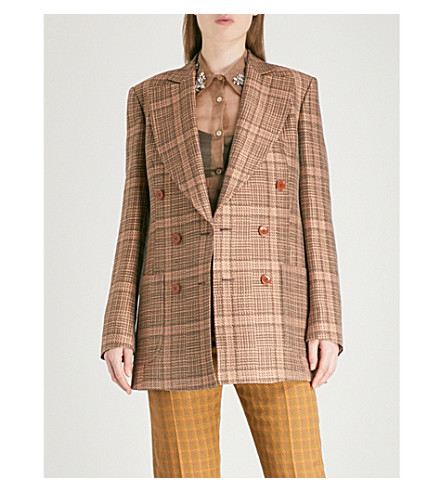 DRIES VAN NOTEN Balias double-breasted woven jacket (Rust