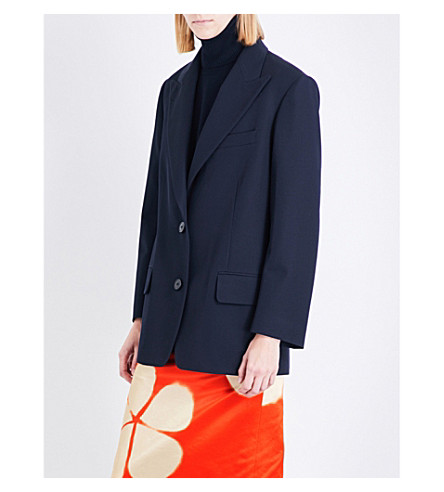 DRIES VAN NOTEN Oversized wool blazer (Navy