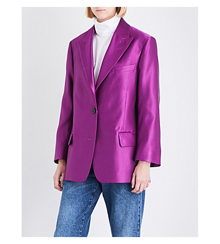 DRIES VAN NOTEN Barrow single-breasted silk-satin blazer (Purple