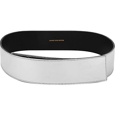 DRIES VAN NOTEN Metallic leather belt (Silver