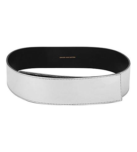 DRIES VAN NOTEN Metallic leather belt (Silver