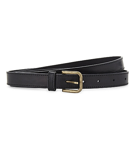 DRIES VAN NOTEN Slender leather belt (Black