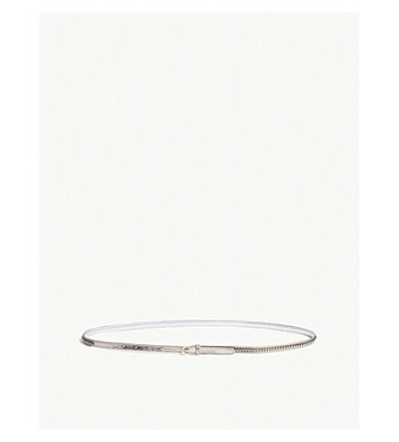 DRIES VAN NOTEN Crystal embellished leather belt (Silver