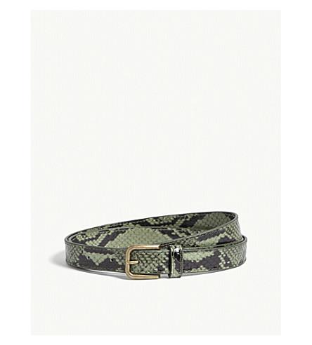 DRIES VAN NOTEN Snake-embossed leather belt (Green