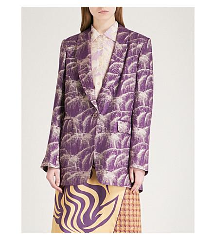DRIES VAN NOTEN Blanca metallic silk-blend jacquard jacket (Purple