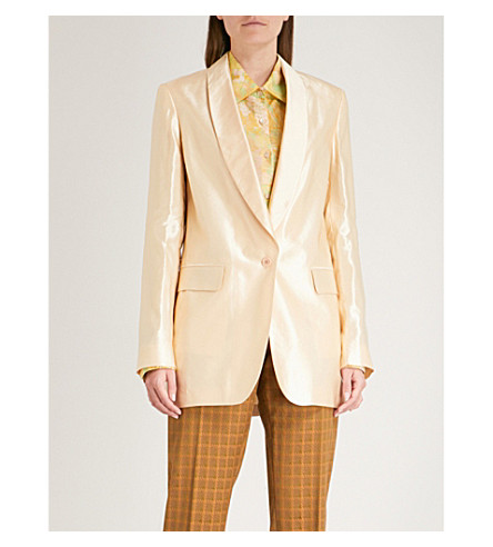 DRIES VAN NOTEN Blanca satin jacket (Pale+yellow