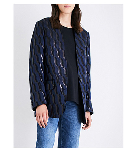 DRIES VAN NOTEN Oversized geometric-jacquard blazer (Navy