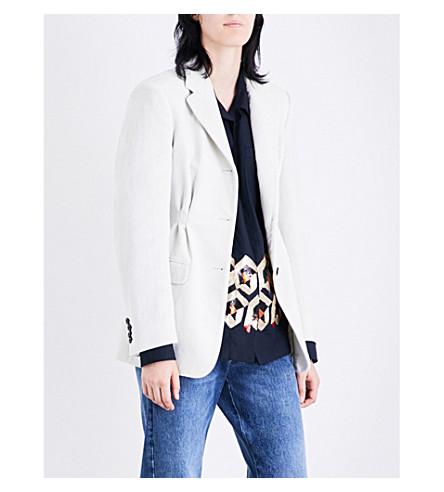 DRIES VAN NOTEN Brentino single-breasted velvet blazer (White