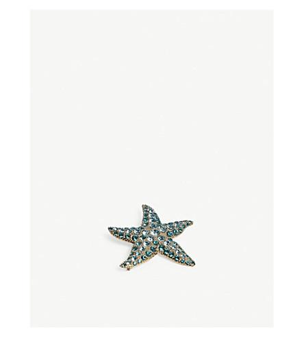 DRIES VAN NOTEN Embellished star fish brooch (Turquoise