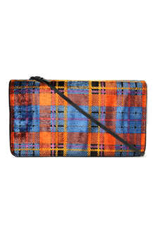 DRIES VAN NOTEN Tartan velvet clutch