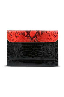 DRIES VAN NOTEN Python-embossed envelope clutch bag