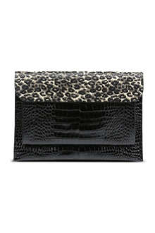 DRIES VAN NOTEN Leopard-print envelope clutch bag