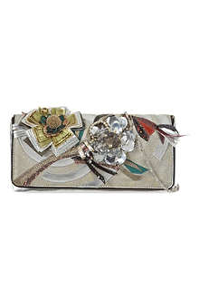 DRIES VAN NOTEN Metallic leather flower clutch