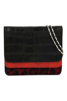 DRIES VAN NOTEN Contrast-leather fold-over clutch