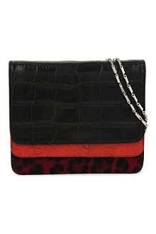 DRIES VAN NOTEN Contrast-leather fold-over clutch