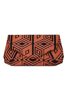 DRIES VAN NOTEN Geometric-jacquard envelope clutch