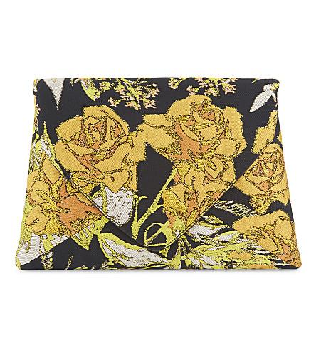 DRIES VAN NOTEN Metallic flower clutch (Yellow
