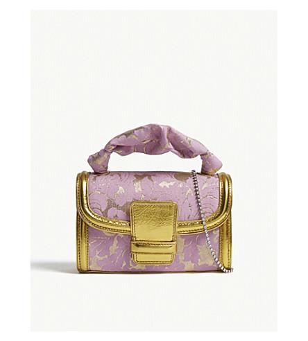 DRIES VAN NOTEN Floral brocade and metallic leather shoulder bag (Pink