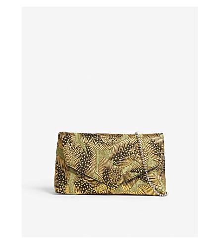 DRIES VAN NOTEN Leaf-jacquard clutch (Gold