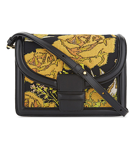 DRIES VAN NOTEN Floral leather cross-body bag (Yellow