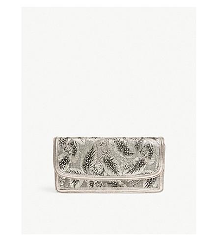 DRIES VAN NOTEN Leaf-jacquard clutch (Silver