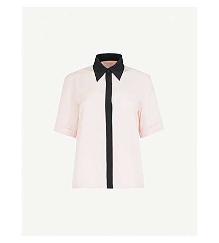 DRIES VAN NOTEN Contrast-trim silk shirt (L+pink