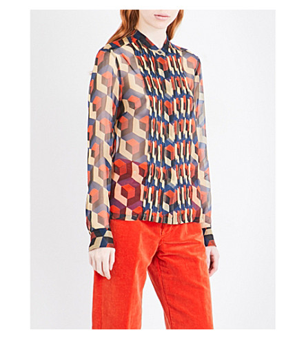 DRIES VAN NOTEN Cakung silk-chiffon shirt (Petrol