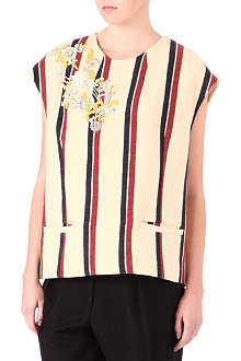 DRIES VAN NOTEN Embroidered stripe tunic top