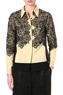 DRIES VAN NOTEN Floral embroidered silk-blend shirt