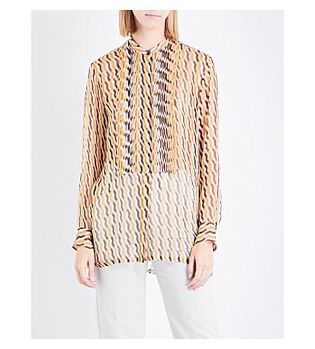DRIES VAN NOTEN Zigzag-print silk blouse (Ecru