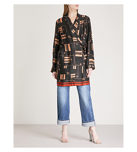 DRIES VAN NOTEN Cancun satin wrap jacket (Black