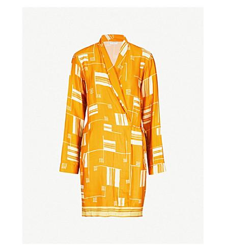 DRIES VAN NOTEN Abstract-print satin wrap jacket (Orange