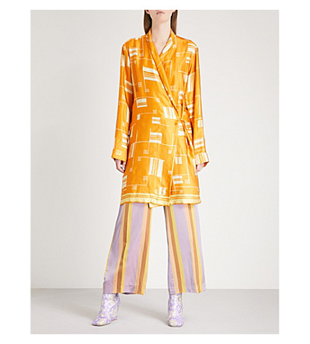 DRIES VAN NOTEN Abstract-print satin wrap jacket (Orange