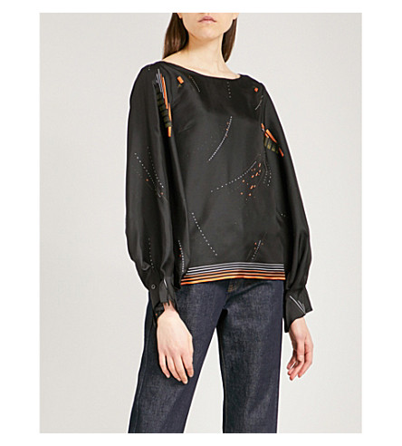 DRIES VAN NOTEN Canote shirt abstract-patterned silk-twill top (Black