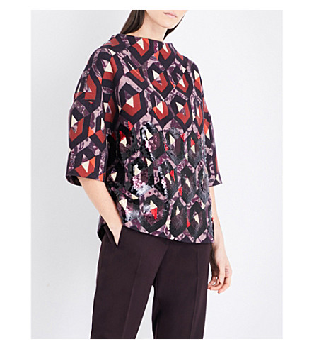 DRIES VAN NOTEN Cantertris embellished wool top (Des+a