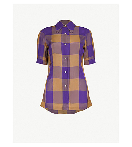 DRIES VAN NOTEN Checked cotton shirt (Purple