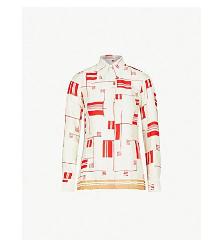 DRIES VAN NOTEN Abstract-pattern satin shirt (Ecru