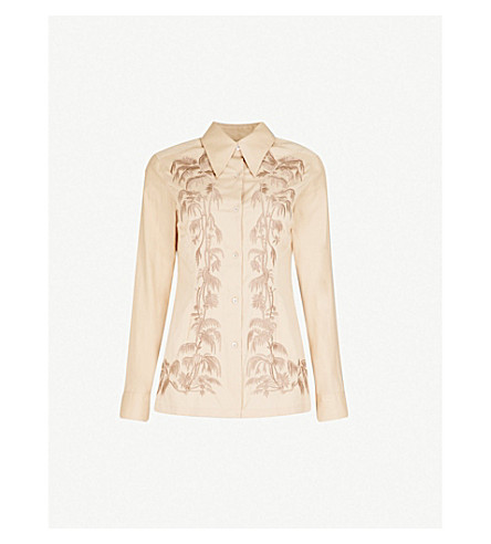 DRIES VAN NOTEN Floral-embroidered cotton shirt (Beige