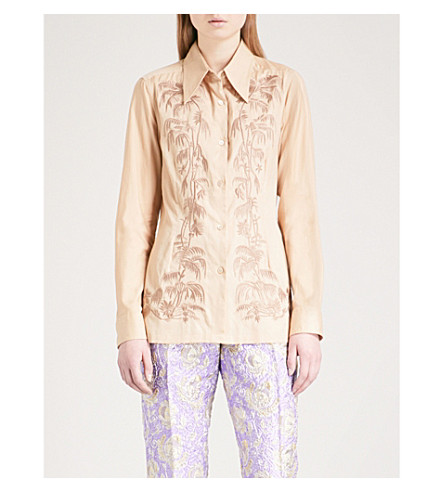 DRIES VAN NOTEN Capios embroidered cotton shirt (Beige