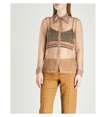 DRIES VAN NOTEN Capiose embellished silk-organza shirt (Beige
