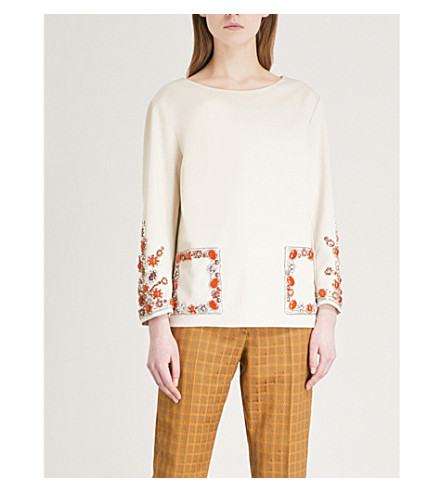 DRIES VAN NOTEN Embellished woven top (Cement