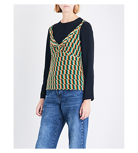 DRIES VAN NOTEN Carti geo-print silk top (Green